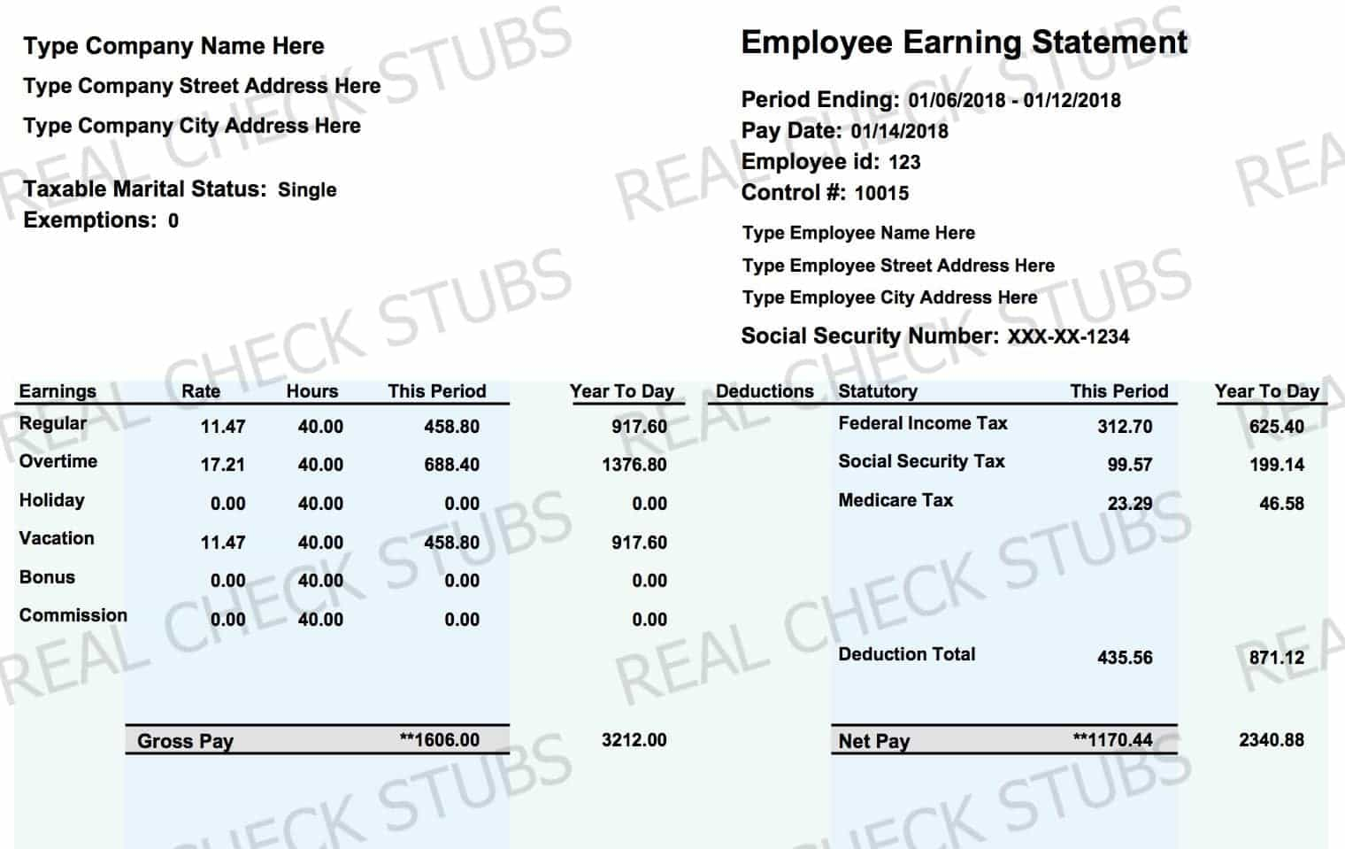 Real Paycheck Stubs | Create Stub