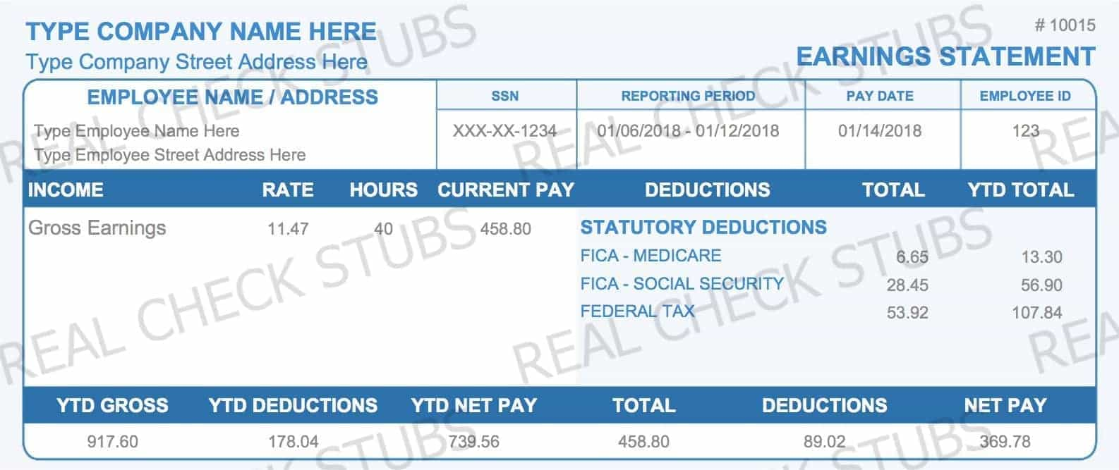 Real Paycheck Stubs Create Stub - Real pay stub template
